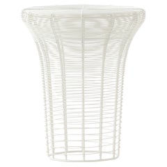 GAN Rugs Aram High Stool with Stainless Steel Wire in White by Nendo