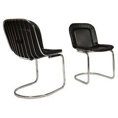 Pair of Midcentury Design Chrome, Leather Chairs /Gastone Rinaldi, 1970s