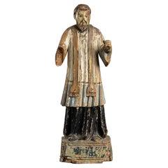 Painterd Wood Saint Francis Xavier, Indo-Portuguese, 18th-19th Century