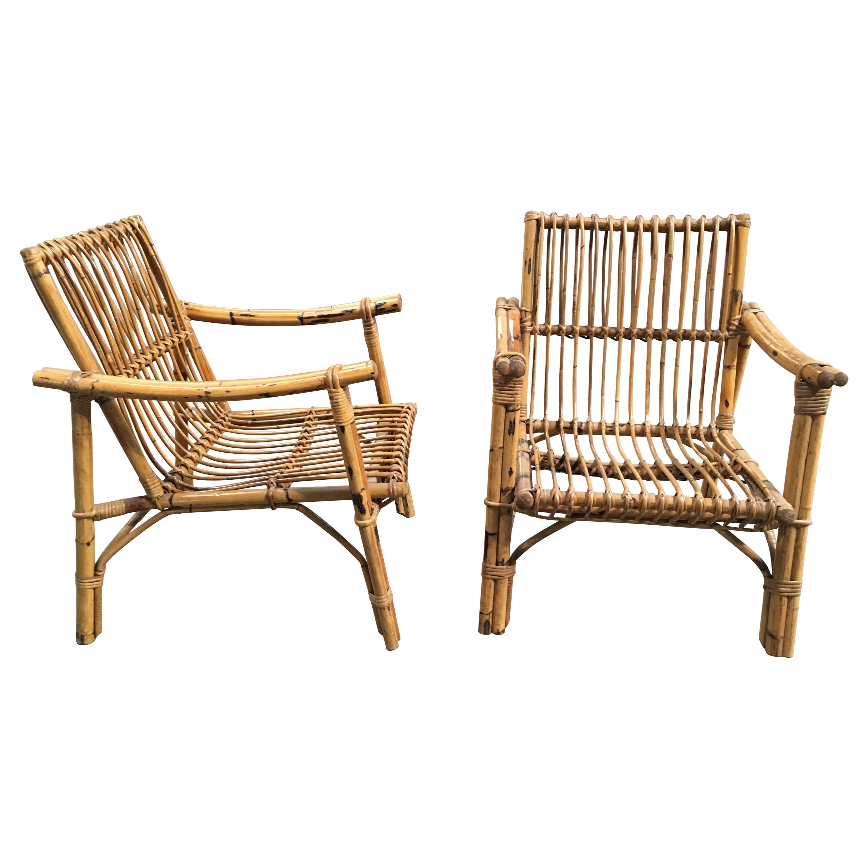 Mid-Century Modern Italian Pair of Bamboo and Rattan Armchairs, 1960s