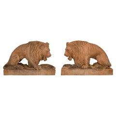 Pair of Italian 19th Century Terra Cotta Statues of Lions, Circa 1850