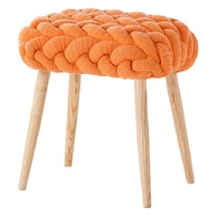 Gan Rugs Knitted Stool in Orange by Claire-Anne O'brien