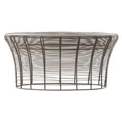 GAN Rugs Aram Low Table with Stainless Steel Wire in Bronze by Nendo