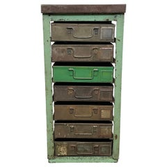 Vintage Green Industrial Iron Chest of Drawers, 1950s