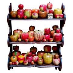 62 Vintage Folk Art Hand Painted Apple Collection and Display, Circa 1890-1950