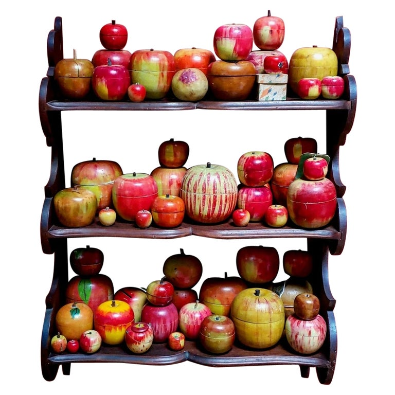 62 Vintage Folk Art Hand Painted Apple Collection and Display, Circa 1890-1950 For Sale