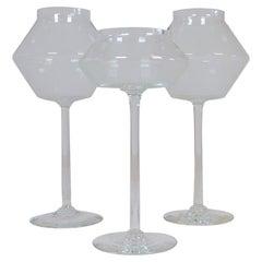 Midcentury Set of 3 Large Art Glass Candleholders Johansfors, Sweden, 1950s