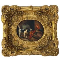 English Oil on Wood Small Painting, circa 1850
