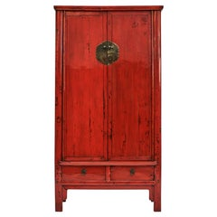 Chinese Ming Style Red Lacquered Wardrobe with Drawers and Shelves