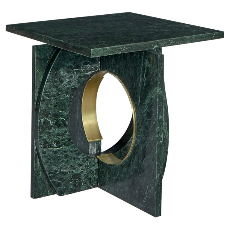 Neptuno Side Table, Green Marble by ATRA For Sale
