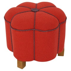 Art Deco Vintage Red Lavender Fabric Beech Stool Ottoman Pouf Austria 1930s
