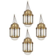 Art Nouveau Lantern Pendant Lamps Brass Opal Glass, circa 1910