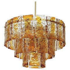 Italian Mazzega Murano Chandelier in Amber and Clear Glass