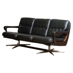 1960's Dark Green Leather Chrome and Teak Three-Seat Sofa by André Vandenbeuck