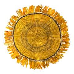 Circa 1880-1900 Cigar Silk Piecework Table Cover, Ribbon Fringe