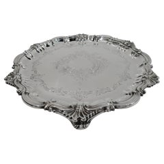 Antique English Edwardian Georgian Sterling Silver Salver Tray