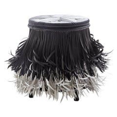 Hula 'Black seat, WB', Rattan Tribal Stool