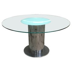 """Mid-Century Modern Italian """"Cidonio"""" Stainless Steel and Glass Table by Cidue"""
