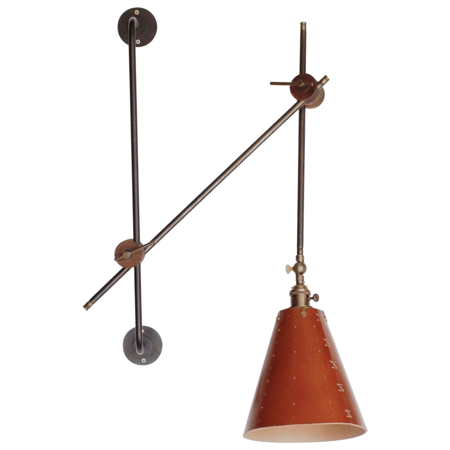 Modern Brass Grace Articulating Wall Sconce in Tan Leather