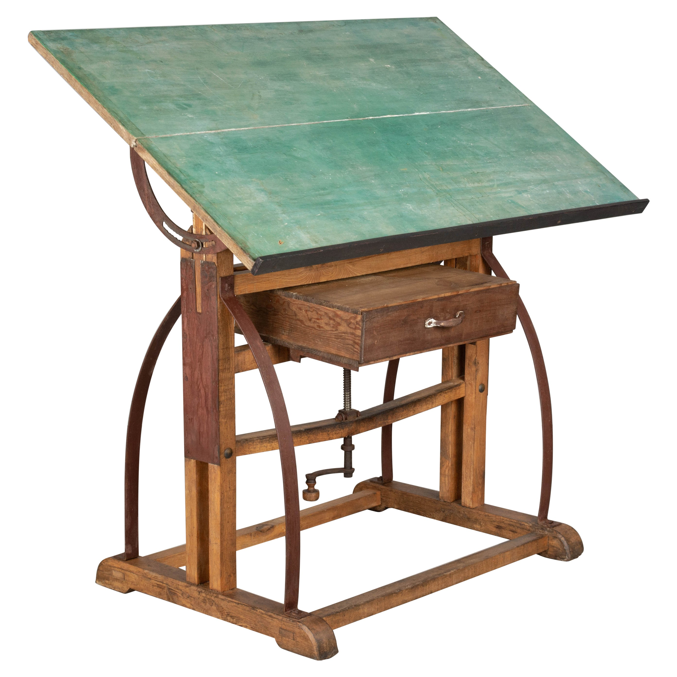 Rustic Industrial French Architect's Drafting Table