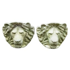 Pair of Cast Stone Lion Head Wall Planters