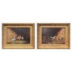 Pair of 19th Century French Chicken Paintings in Giltwood Frames Signed G. A