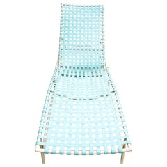 Tropitone Turquoise Webbed Chaise Lounge, 1960s