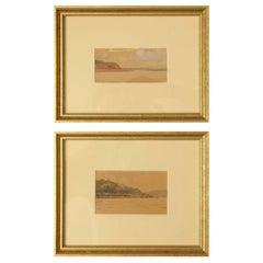 Two Russian Watercolor Studies of a Riverscape by Nikolai Gritsenko