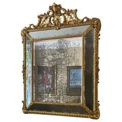 A Monumental French Gilt Cushion Panel Mirror