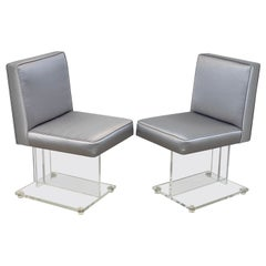 Pair of Diminutive Kagan Style Lucite Chairs