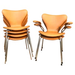 6 Vintage Iconic Chairs by Arne Jacobsen for Fritz Hansen in Leather