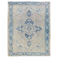 Antique Persian Heriz Handmade Blue Geometric Medallion Beige Wool Rug