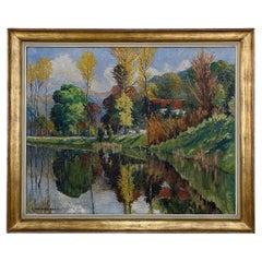 Antique Framed Oil Painting on Canvas by L. Vanmeerbeek