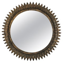 French Sunburst Mirror in Patinated Metal, Style of Line Vautrin