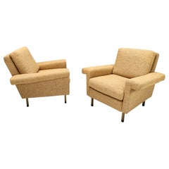 Pair of High-Quality Midcentury Honey Yellow Armchairs, Italy
