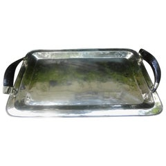 Vintage Italian Silver Plated Tray with Horn Handles