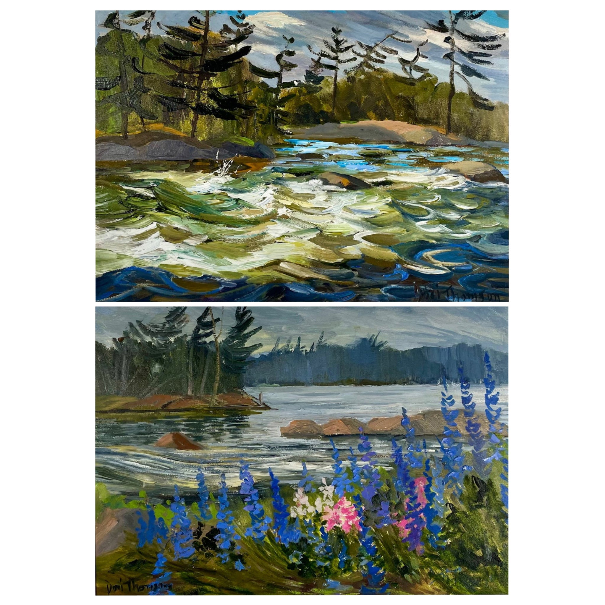 Pair of Mid-Century Canadian Signed Landscape Paintings