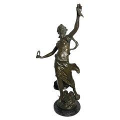 Rare L & F. Moreau Patinated Bronze Sculpture of a Triumphant Maiden
