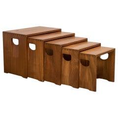 Modernist Crafted Oak Nesting Tables