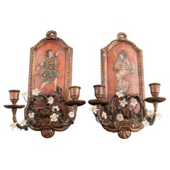 Vintage Chinoiserie Painted Candle Wall Sconces