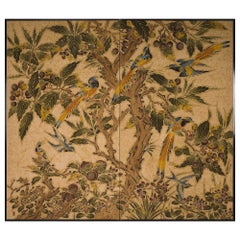 Japanese Two Panel Screen Exotic Birds in a Fruit Tree