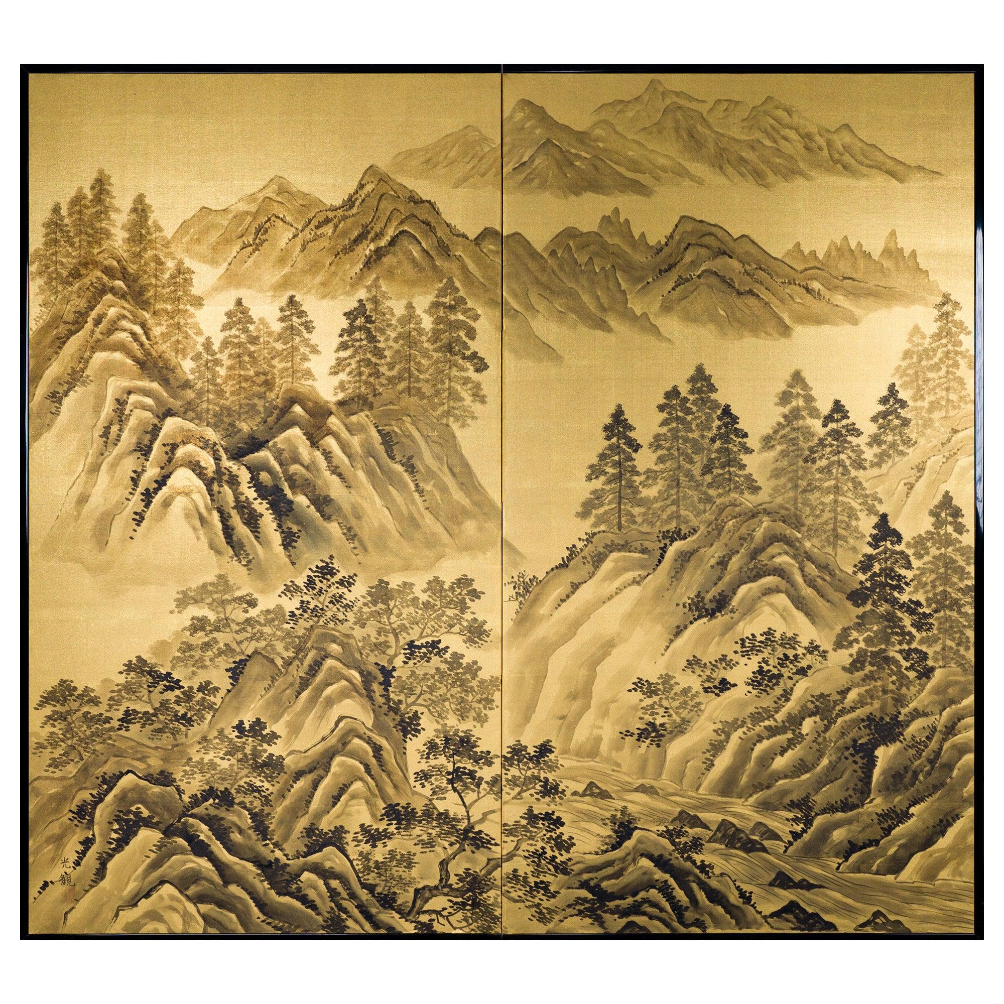 Japanese Two Panel Screen Craggy Mountain Landscape