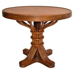 Baker Furniture Style Mid-Century Modern Bamboo & Cane Dining Table American