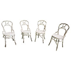 Set of 4 Faux Bois Metal Chairs