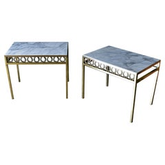 Pair of Hollywood Regency Brass and Marble Side Tables, ca. 1970