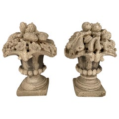 Pair French Limestone Cornucopia Garden Urns