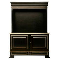 Jansen Inspired Ebonized Mahogany Bookcase with Bronze Trim in Any Dimension
