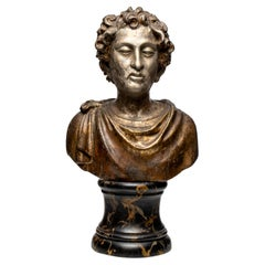 Antique Classical Carved Giltwood Bust of a Roman
