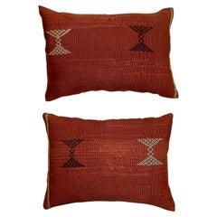 Pair of Cactus Silk Red Pillow