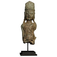 Early Chinese/Silk Road, Bronze Buddha/Bodhisattva Bust-Possibly 10thC or e 6805